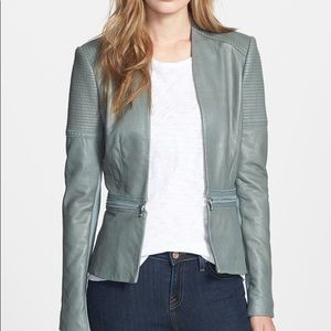 Rebecca Taylor Seamed Leather Peplum Jacket